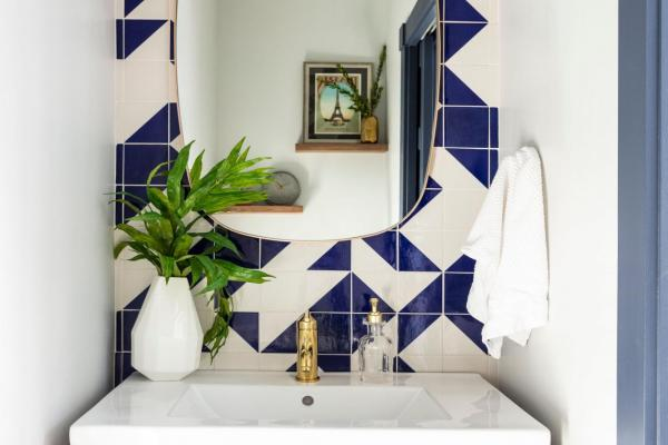 Blue and white powder bathroom