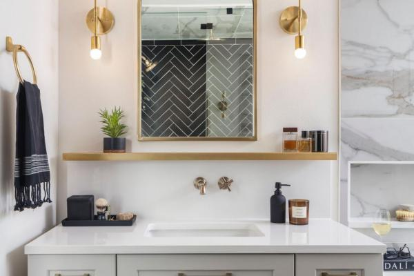 Modern gray vanity with arch mirror