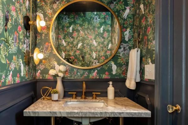 Powder room with floral wallpaper