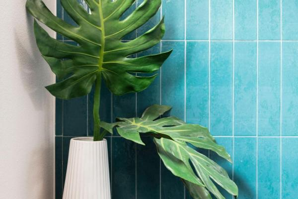 Detail of teal subway tile