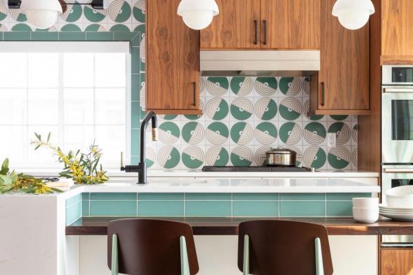 Modern kitchen with walnut cabinets
