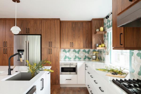Modern kitchen with walnut cabinets and pattern tile