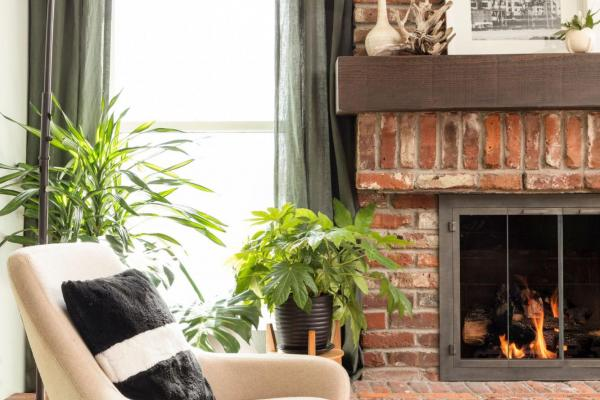 Modern brick fireplace