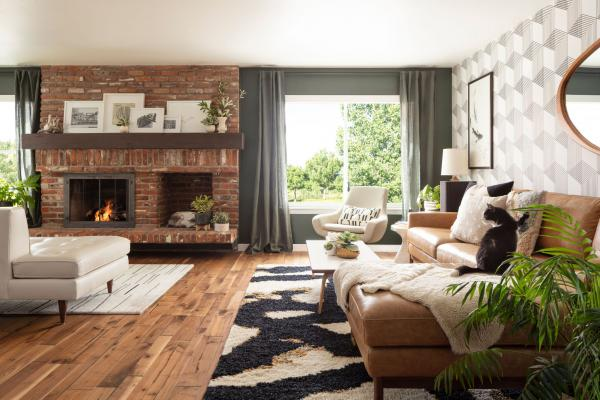Modern living room with brick fireplace and wallpaper