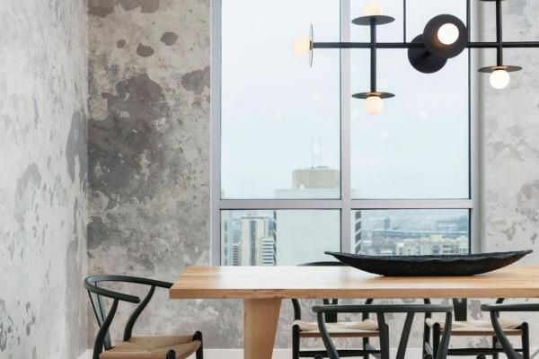 Dining room with city view