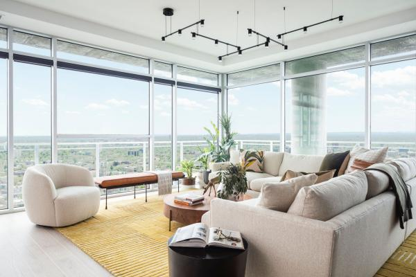 Modern living room with city view