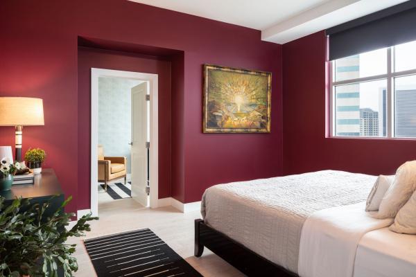 Bedroom with deep red walls